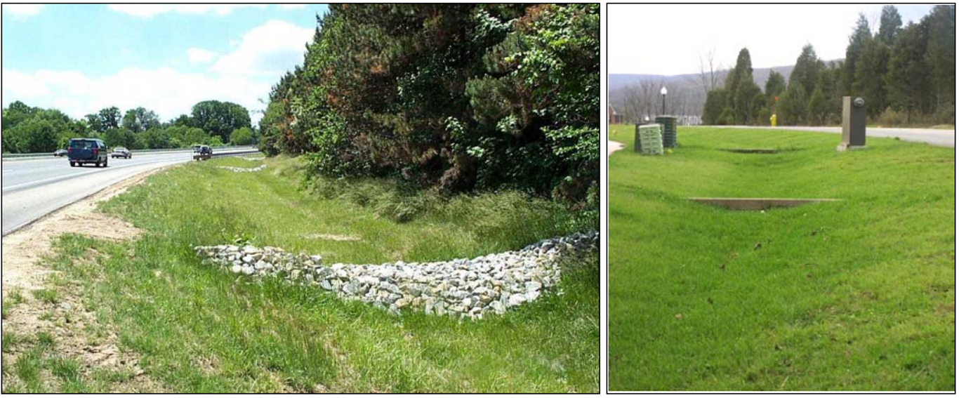 Enhanced grass swales feature check dams that temporarily pond runoff to increase pollutant retention and infiltration and decrease flow velocity. Source: TRCA & CVC (2010)