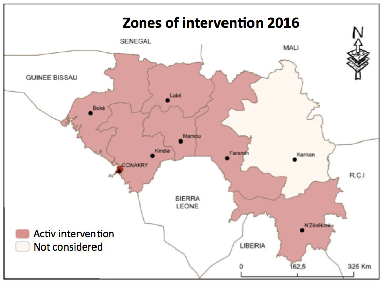 Tinkisso's zones of intervention in 2016. Source: Tinkisso (2017)