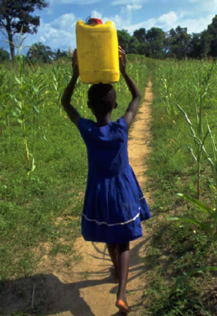 A child transports a big can on its head, which is big effort every day. Sources: UNICEF/WHO (2008)