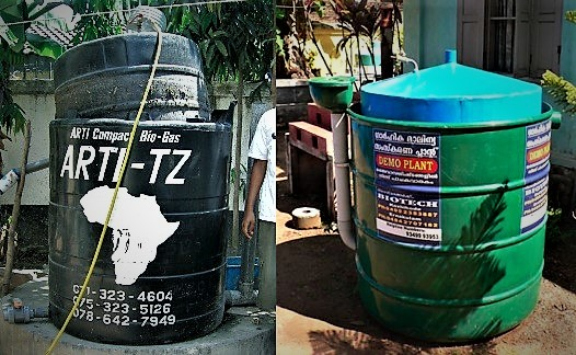The ARTI household digester in Dar es Salaam, Tanzania (Left) and a similar model from BIOTECH. Source: VOEGELI & LOHRI (2009, left image) and HEEB (2009, right image)