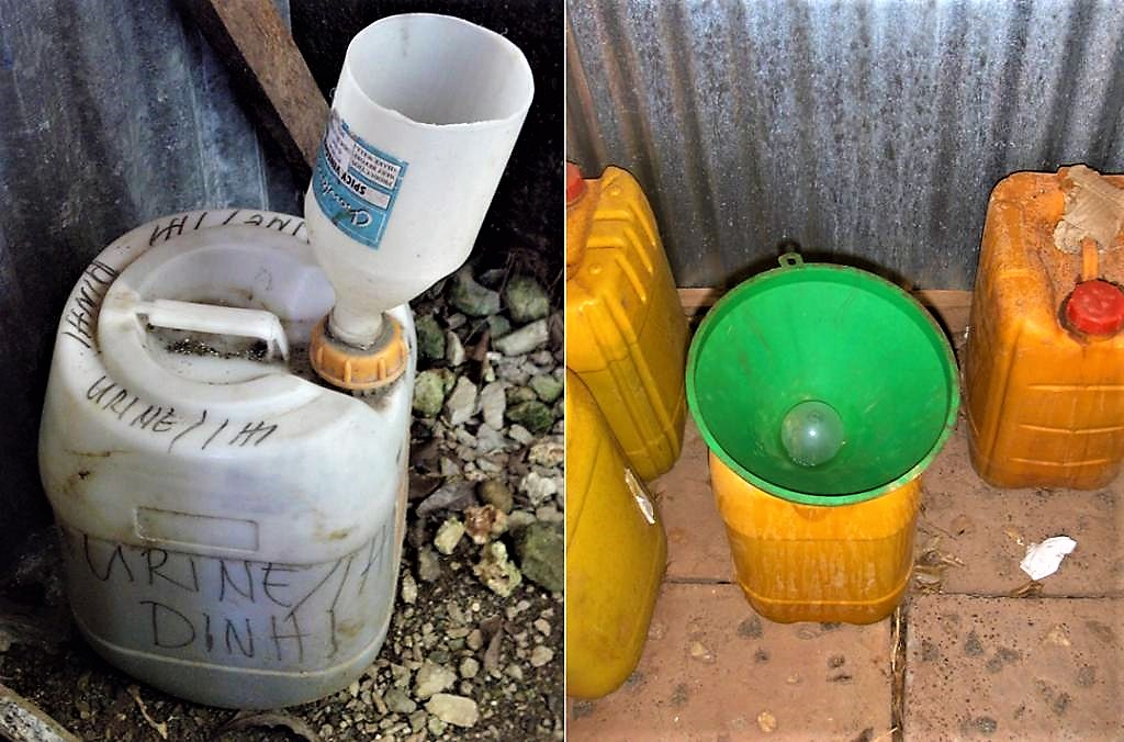 "Low-cost water-less urinal ""eco-lily"" (left) or ""bidur"" (right). Source: WAFLER (2010) and SPUHLER (2007)"