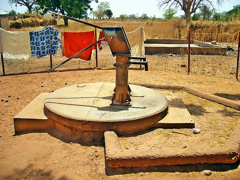Deep-well hand piston pump including apron and drain in Wallalan, Upper Badibu District, Gambia