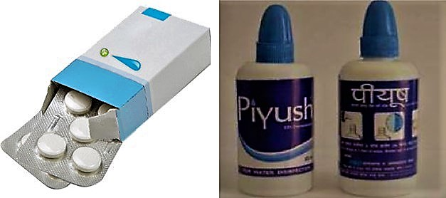 Chlorine tablets and PIYUSH, a 0.5% chlorine solution commercialised in Nepal. Source: The WaterGeeks and ENPHO