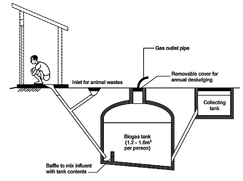 Small-scale biogas digesters receiving animal waste show higher biogas production rates then bioreactors using only human wastewater as substrate. Source: WELL (n.y.)