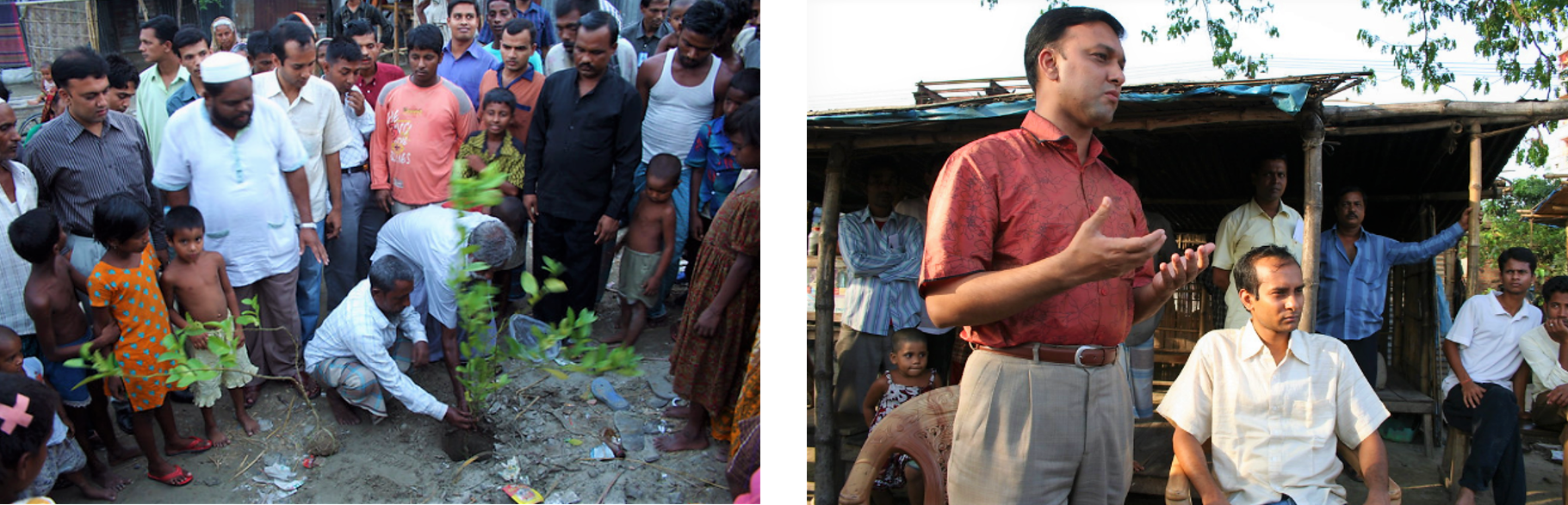 Involving leaders: In order to raise awareness of the potential to use used toilet bags as fertilizer, demonstration plots were planted in Mymensingh Pourashava, Bangladesh. Left picture: a community leader from Kalibari community helps plant a lemon tree. Right picture: The Mayor of Mymensingh Pourashava speaking to the Malgudam community after creating the demonstration plot. Source: WHEATON (2009)
