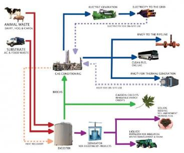 Biogas production form agriculture and food industry waste slurry. Products are electricity, clean fuel, carbon credits and liquid and solid fertiliser. Source: BIOPACT (2008)