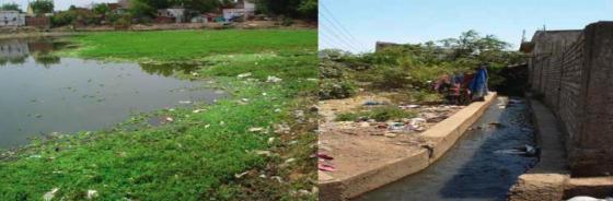 The present status of the urban pond Bandhwa Talab (left) and discharge of untreated waste water (right). Source: CDD (2012)