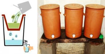 Figure 1: Schematic view of a ceramic pot filter (left) and a colloidal silver filter (CSF) in operation in a School in Nepal. Source: IDEASS (n.y.) and ENPHO