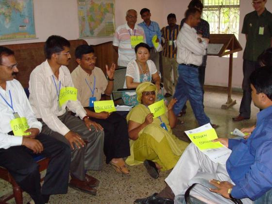 "Figure 1: Participants in an ecosan course in India perform a role play. While the ""activist learner"" can get a lot out of such exercises, ""reflectors"" prefer different learning environment (source: Ecosan Services Foundation)."