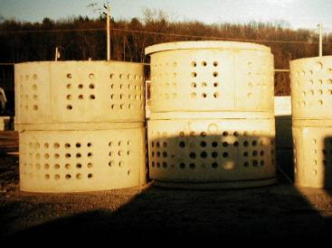 Pre-fabricated permeable cesspits (similar to a soak pit) made out of concrete. Source: FRIEDMAN (n.y.)