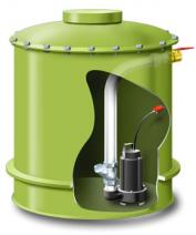 A fibreglass tank for single households with an integrated sewage pump The sewage is pumped up to council sewer or on site treatment plant. Source: FTM (2010)