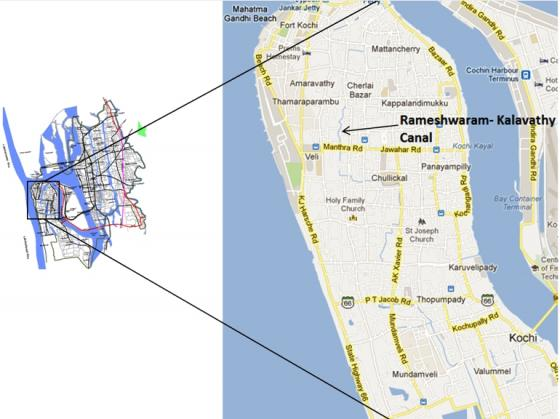 Location of Rameshwaram-Kalavathy Canal. Collage from GIZ (2011) and GOOGLE (2012)