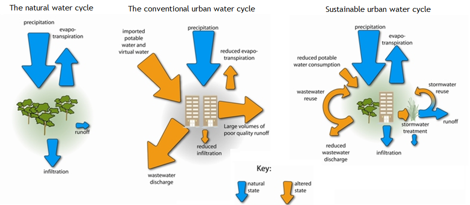 The natural water cycle, the conventional urban water cycle and the sustainable urban water cycle. Source: HEALTHY WATERWAYS 2011