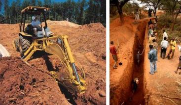 A hydraulic backhoe excavates a trench (left) and people at work (right). Source: HOWSTUFFWORKS (2012)