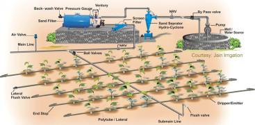 Schematic design of a commercial drip irrigation system. This includes technical components such as filters, pumps and hydraulic control valves. Source: INFONET-BIOVISION (2010)