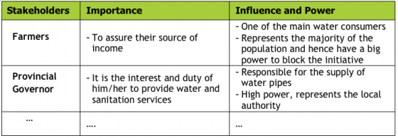 LIENERT 2010 Stakeholder importance and influence