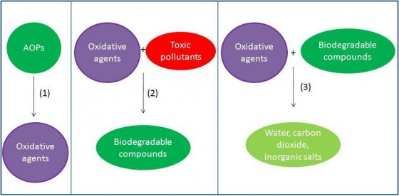 Main steps involved in an AOPs treatment of wastewater containing toxic organic compounds. Source: MAZILLE (2011).