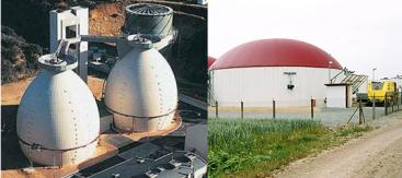 A typical egg-shaped biogas reactor in Germany (left) and an agricultural fixed-dome biogas reactor. Sources: MIKLED (n.y.), gfn.unizar (left) and KLIMA SUCHT SCHUTZ (2010)