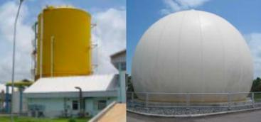 Digester and gas storage at the Rayong Municipality Cogeneration plant, Thailand. Source: MUELLER (2007)