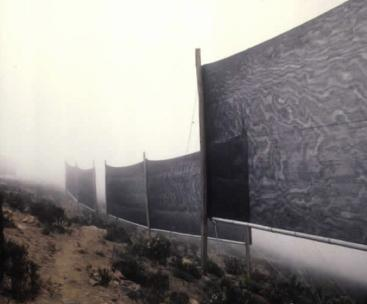 Fog collectors on El Tofo Mountain, Chile. Water from the fog condenses on nets. Source: MUKERJI (n.y.)