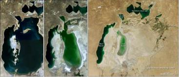 Shrinking Aral Sea (from left to right):1989, 2003 and 2011 (thin black line indicating coast linein 1960). Source: NASA and USGS (2011)
