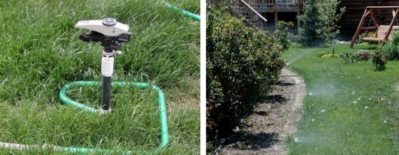 Left: Pop-up half circle spray heads fed by a subsurface hose. Right: Portable impact sprinkler head connected to a garden hose. Source: NEIBLING and ROBBINS (n.y.)