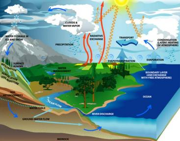 The Water Cycle. Water travels the earth in a constant cycle, which is ultimatively driven by the sun. Source: OWENS 2006