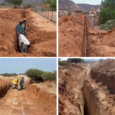 Local workers at construction of a shallow vacuum sewer system (above) and excavation of gravity sewer trenches with heavy machinery. Source: ROEDIGER (2007)