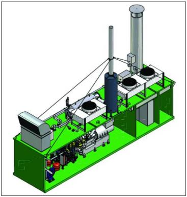 Design-model of a larger-scale biogas cogeneration unit produced by SEVA ENERGIE AG in Germany, source: SCHALLER (2007)