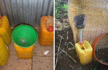 "Low-cost dry urinal (""eco-lilly"" or ""bidur"") used for the collection of urine. Source: D. SPUHLER (2007) (left) and SuSanA on FLICKR, (2010) (right)"