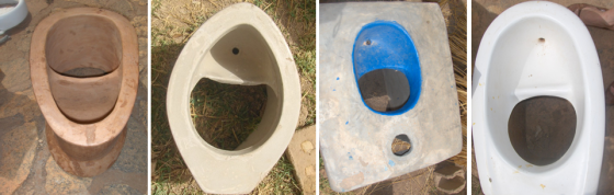 Several types of UDDT toilets, made by local craftsmen in Ouagadougou, Burkina Faso (CREPA Headquarter). Source: D. SPUHLER (2007)