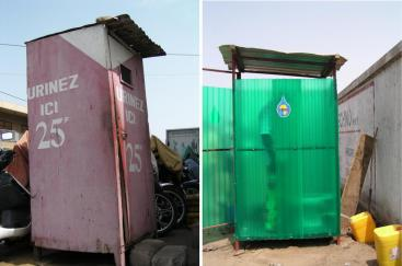 Public toilets collecting urine in Lomé, Togo. The collected urine is transported in jerry cans to an experimental agricultural site where it is stored and reused. Source: D. SPUHLER (2007)