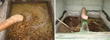 Left: An overflow and clogging of the filter should be avoided. It can lead to anaerobic conditions and bad odour. Right: A properly maintained two-chamber compost filter in Switzerland. Source: STAUFFER (2010)