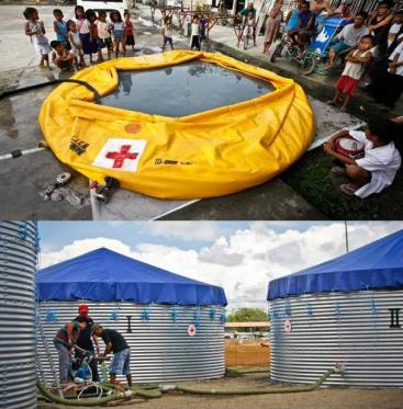 International Red Cross Water and Sanitation Emergency Response Unit (ERU), consisting of an onion tank for settlement supported by coagulation/flocculation (top) followed by bulk storage tanks with chlorine disinfection (below). Source: SWEDISH RED CROSS (2008)