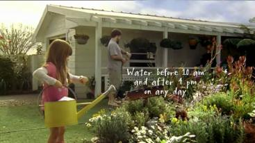 Awareness raising campaign on TV in Sydney, were people are looking at their watch before watering their garden. Source: Sydney Water Corporation