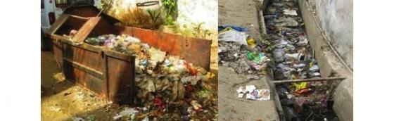 Overflowing solid waste bin (left) and indiscriminate dumping of solid waste in the open drains (right).