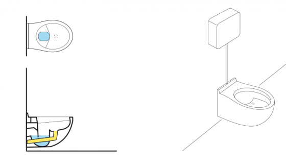 Schematic of a urine-diverting flush toilet
