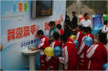 Global hand-washing campaign in Beijing. Source: United Nations 2008