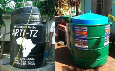 The ARTI household digester in Dar es Salaam, Tanzania (Left) and a similar model from BIOTECH. Source: VOEGELI & LOHRI (2009) and HEEB (2009)