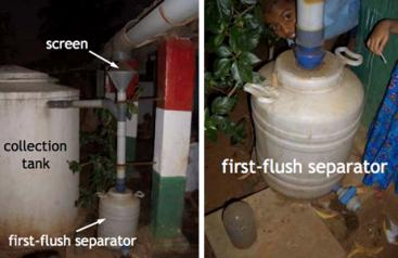 RTRWH at school in Misora, India. (Left: whole system with screen, first-flush separator and collection tank. Centre: screen. Right: first-flush separator.) Source: WAFLER (2010)