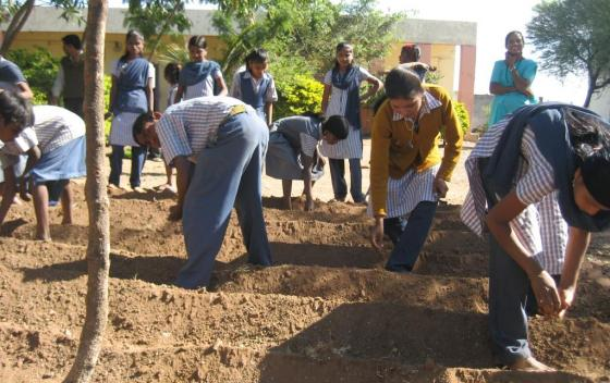 Students (7th - 10th standard) of Shree Baleshwar Anudanit Primary and Secondary Ashram School, Maharashtra State, India, develop vegetable garden for reuse of treated water. Source: SEECON (2010)
