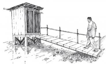 A draft of an overhung latrine how it may appear. Source: WHO (2011)