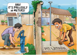 Latrines comic – Think outside the box. Source: WSP (n.y.)