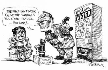 Increase of water prices is mainly a problem for the poor and might appear with privatisation. Source: WUERKER (n.y.)